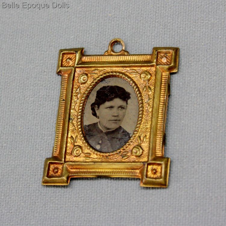 antique miniature frame with portrait  , antique dollhouse gilt frame