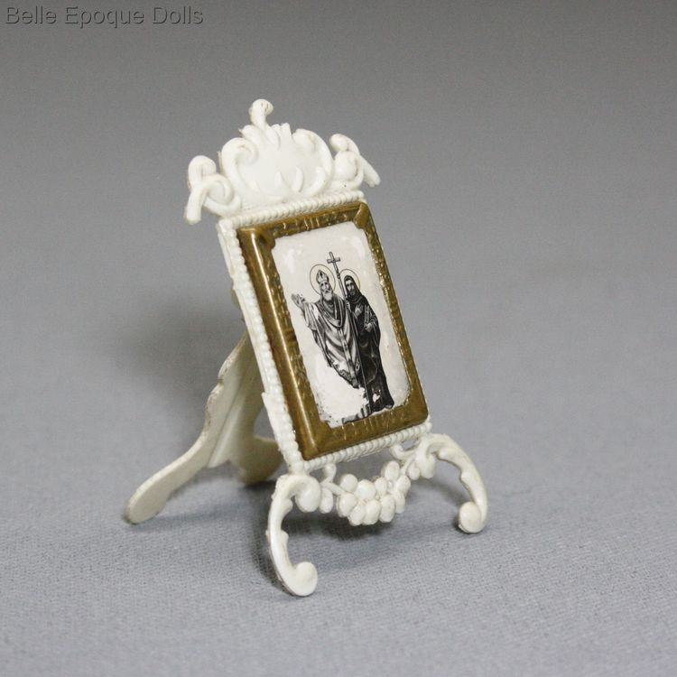 antique dollhouse accessories , Antique celluloid frame with religious picture