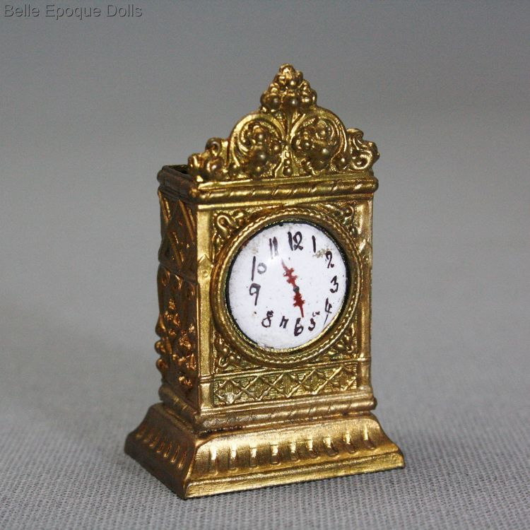 Erhard & Sohne mantel clock , Antique dolls house mantel clock  , ormolu dollhouse accessories