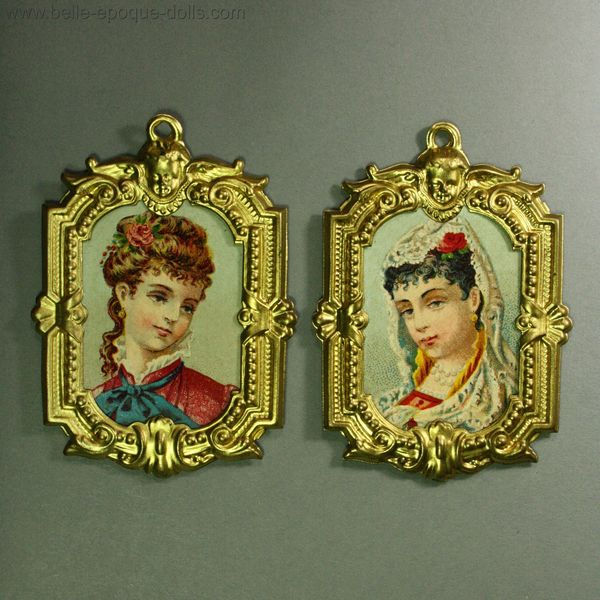 Antique Dolls House Accessories / Pair of German Ormolu Frames with ...