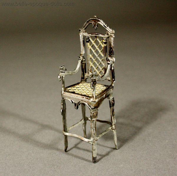 ... Puppenstuben zubehor Antique soft metal child chair , Antique dolls  house furniture metal baby high chair , Antique Puppenstuben ... - Antique Dolls House Accessories / Very Decorative Child High Chair