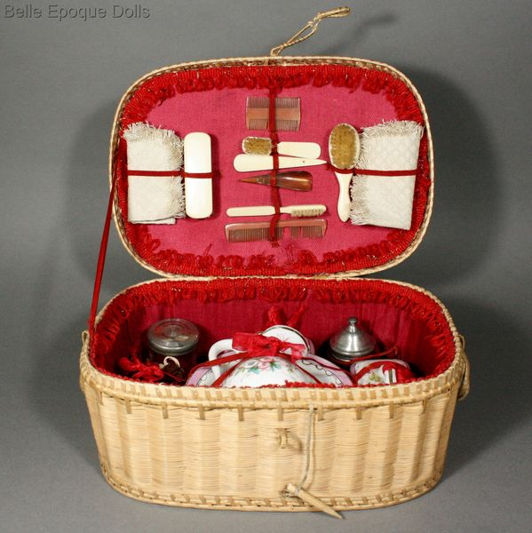 Antique Doll miniature perfume toilette menage , Wash Service for Doll in Original basket