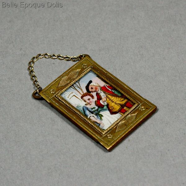 Puppenstuben zubehor rahme , Antique Dollhouse miniature frame with painting under glass , Puppenstuben zubehor rahme