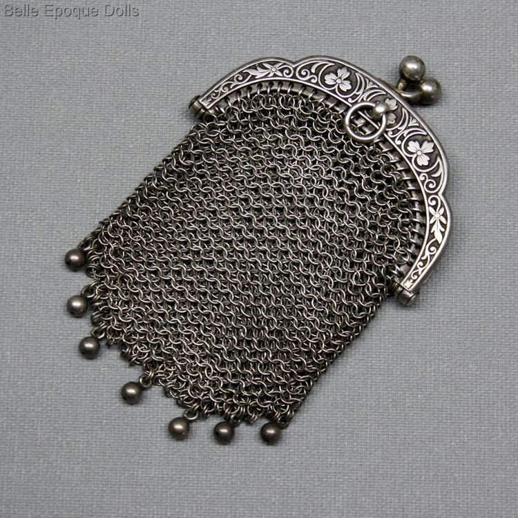 Antique silver chainmaile purse miniature , Puppen  zubehor