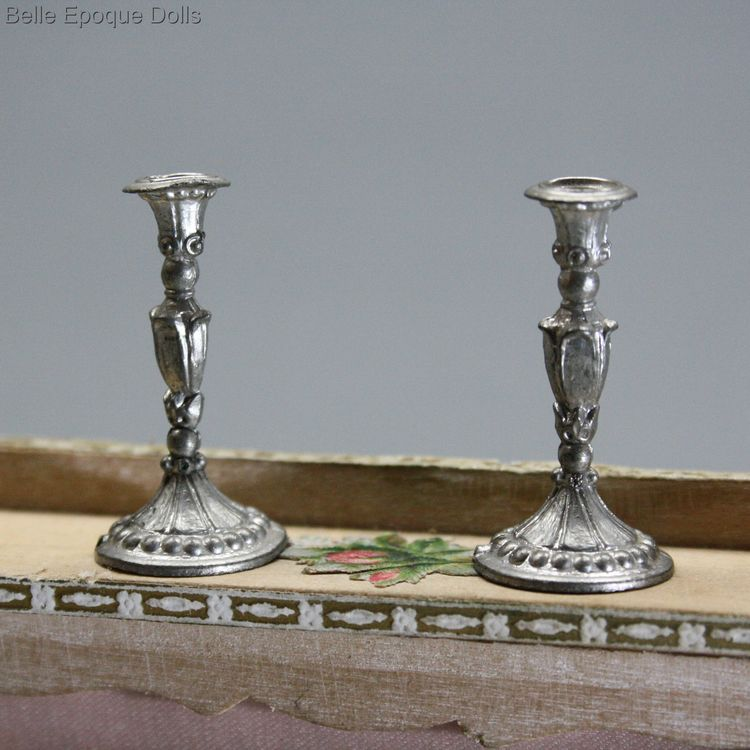 Antique Dollhouse miniature metal pewter candelstick , Puppenstuben zubehor