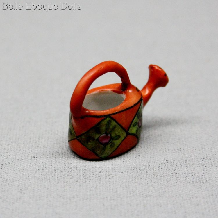 Gabriel Fourmaintraux , porcelain of Desvres , Antique dolls house miniature porcelain watering can