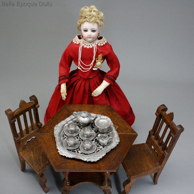 Puppen zubehor , Antique Doll miniature pewter tea service , Puppen zubehor
