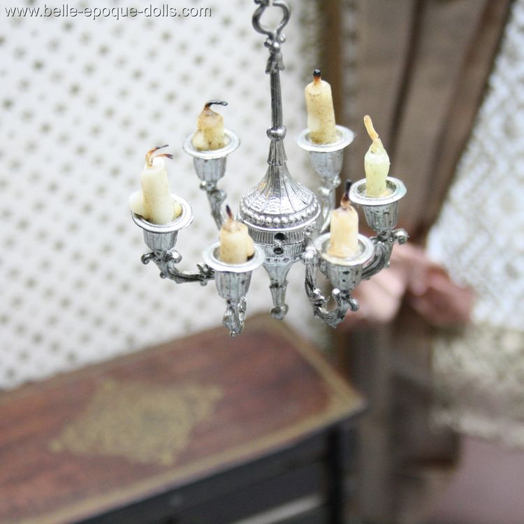 Puppenstuben zubehor , antique 6 armed metal chandelier miniature