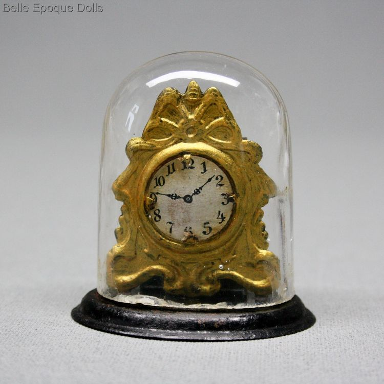 Puppenstuben zubehor , Antique Dollhouse miniature mantel metal clock , Puppenstuben zubehor