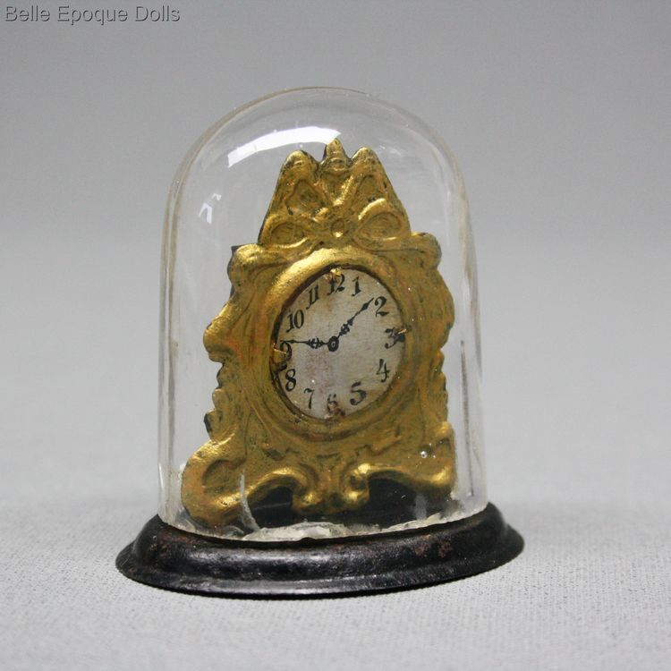 Antique Dollhouse miniature mantel metal clock , Puppenstuben zubehor