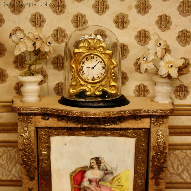 Antique dolls house clock under blown glass dome , Puppenstuben zubehor