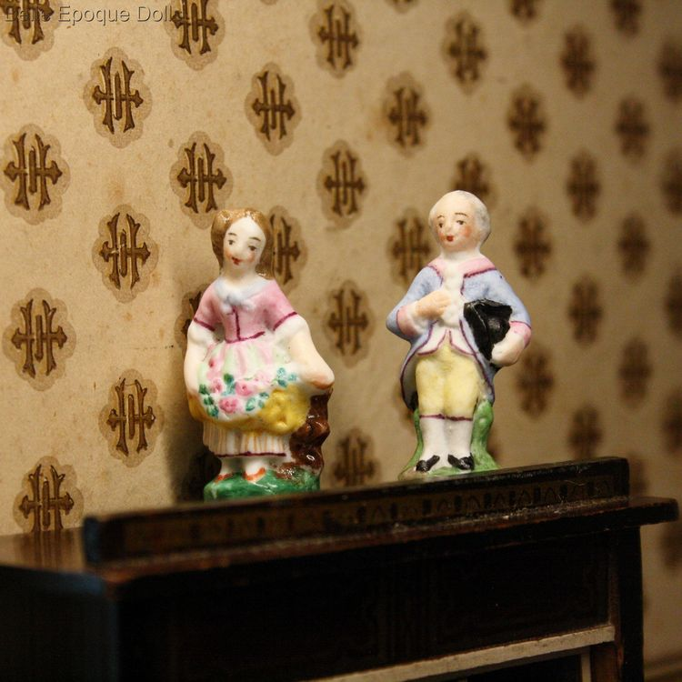 Antique Dollhouse  all bisque figures , miniature pair of figures