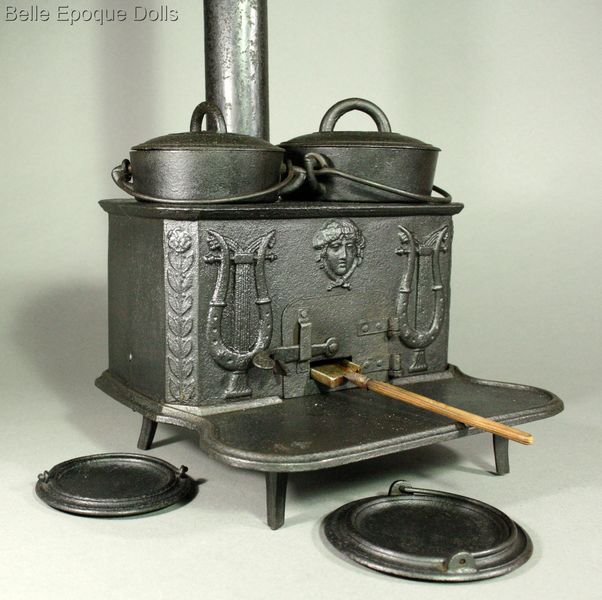 French antique miniature kitchen , Antique dollhouse cast iron stove , Antique miniature kitchen with pewter