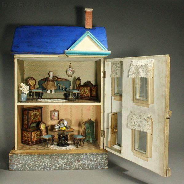 Antique Dolls Houses Amp Rooms Fully Furnished Blue Roof