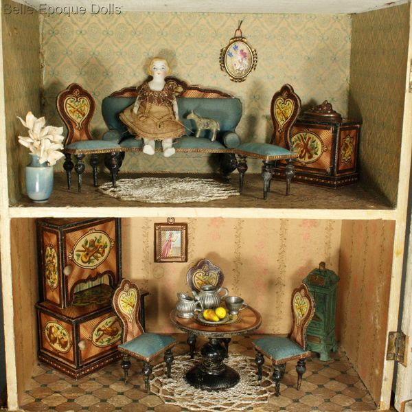 Antique Dolls Houses & Rooms / Fully-Furnished Blue Roof ...