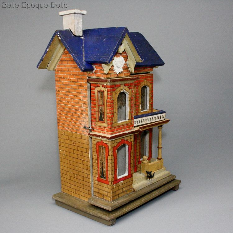 Antique Dolls Houses Rooms Small Scale Blue Roof Dollhouse By