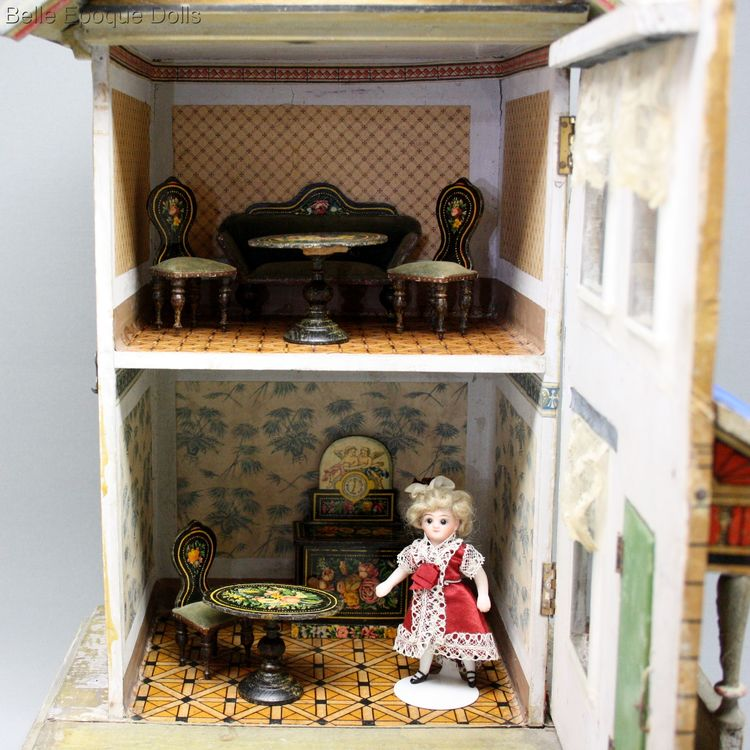 Antique german dolls house  , Antique miniature dollhouse gottschalk , Puppenhauser alte gottschalk