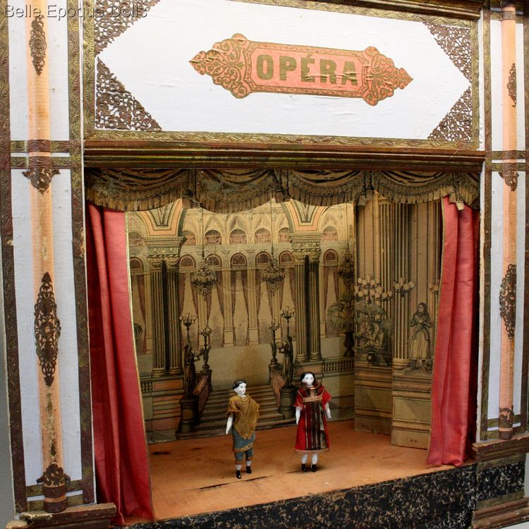 Antique dolls house opera , Antique Dollhouse miniature theater ,  Antikes Theater Puppenstuben zubehor