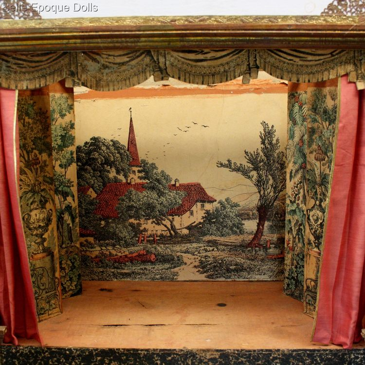 Antique Dollhouse miniature theater , Antique French miniature dolls theater opera