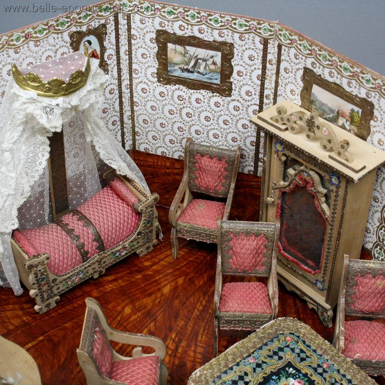 Antique French Dollhouse miniature , Antique dolls house furniture Badeuille , Antique Dollhouse miniature Badeuille Room