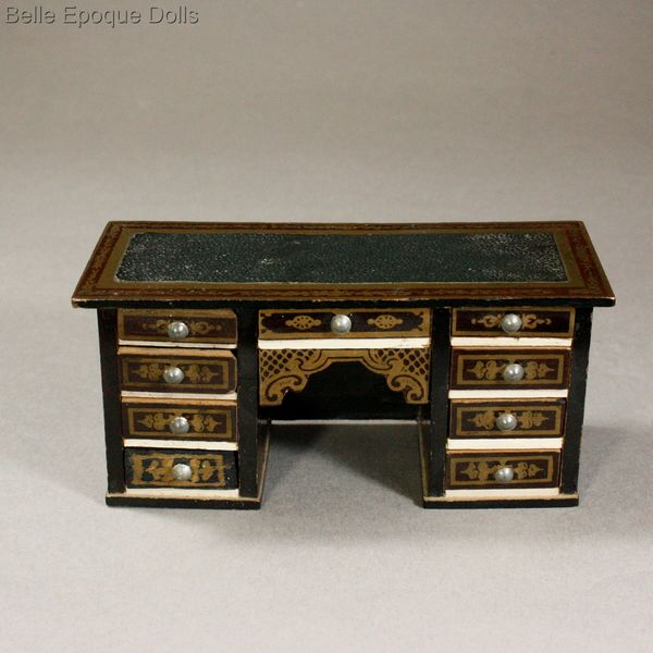 Antique Dollhouse Desk With Leather Imitation Decoration And 9 Operational  Drawers   Waltershausen