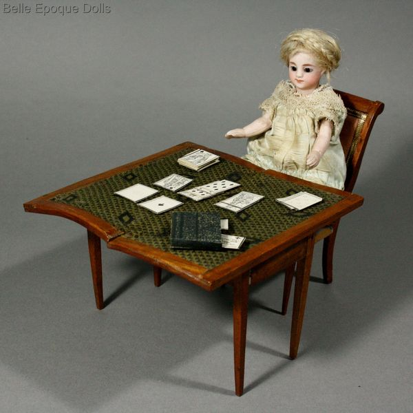 Antique Dolls House Furniture / Rare Early French Dollhouse Gaming Table  With Playing Cards   Ref M087A