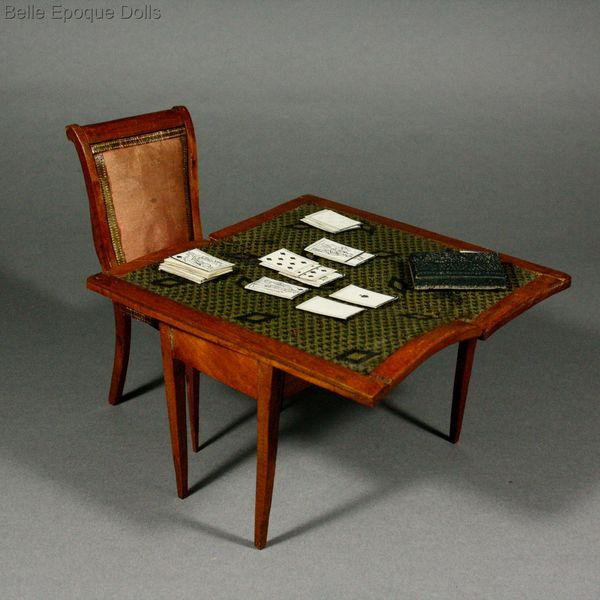 Antique Miniature Gaming Table With Cards , Wild Cherry Wood French Antique  Furniture ...