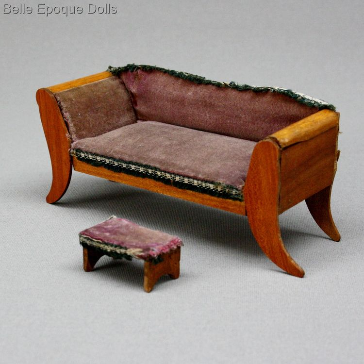 antique French dollhouse salon , Antique French wooden salon with velvet upholstery