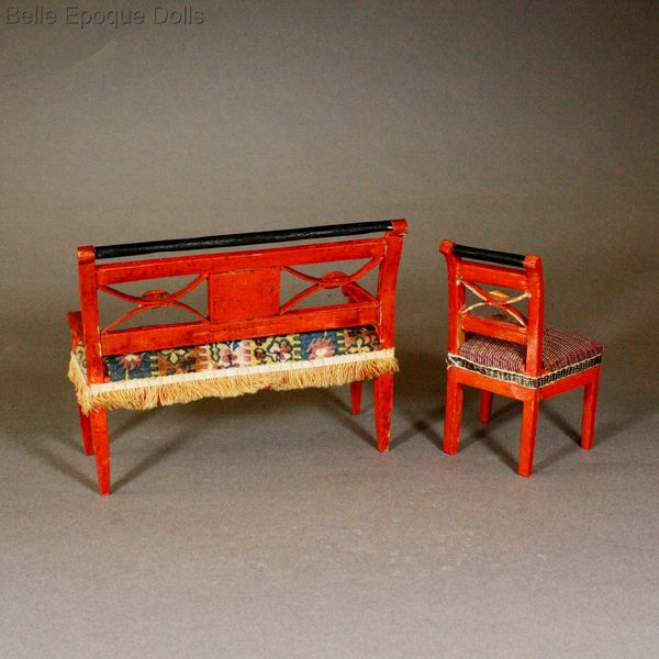 Erzgebirde Puppenstuben , Antique Dollhouse miniature erzgebirde ore montains , Early german dollhouse furniture
