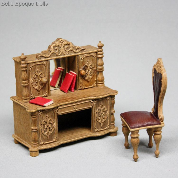 antique miniature dollhouse furniture , waltershausen leather seats miniature