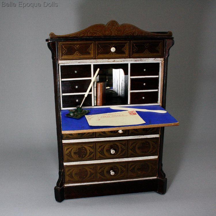 Antique Drop Front Secretary Desk >> Antique Dolls House Furniture Magnificent Antique Large Scale Biedermeier Drop Front Secretary For Fashion Dolls Ref M187