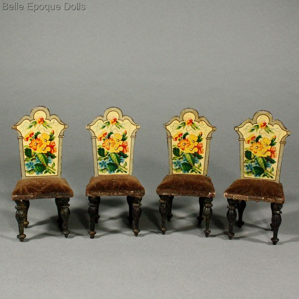 wohnzimmermöbel holz:Antique Dolls House Furniture / Antique Salon with Lithographed Floral