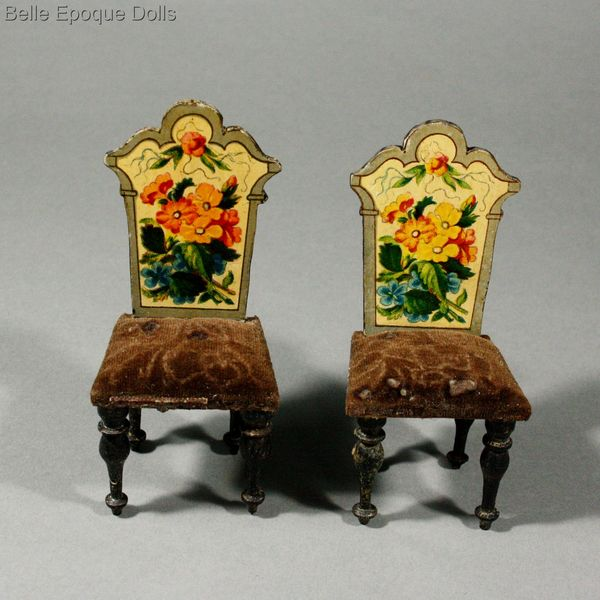 Antique Dollhouse miniature , Antique dollhouse parlor with floral lithographed paper