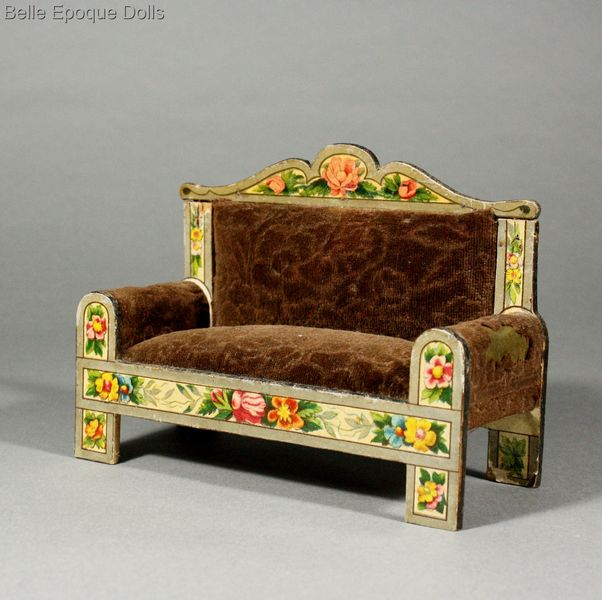 Puppenstuben zubehor , Antique dolls house lithographed german furniture