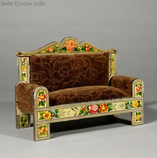 Antique Dollhouse miniature , Antique dolls house lithographed german furniture