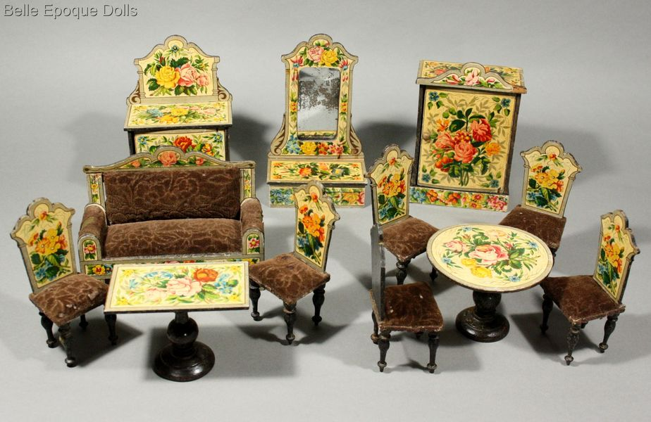 Antique dollhouse parlor with floral lithographed paper , Antique Dollhouse miniature , Puppenstuben zubehor