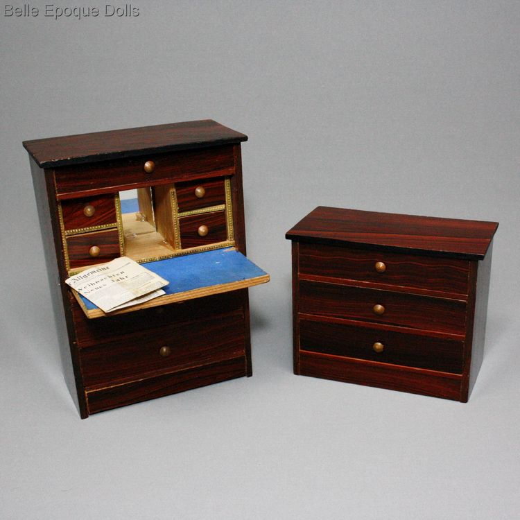 dollhouse furnishings , antique miniature chest and secretaire