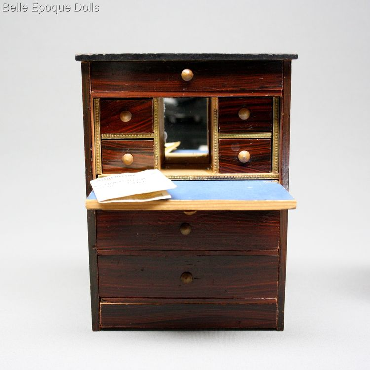 antique miniature chest and secretaire , dollhouse furnishings , Antique dolls house rosewood furniture