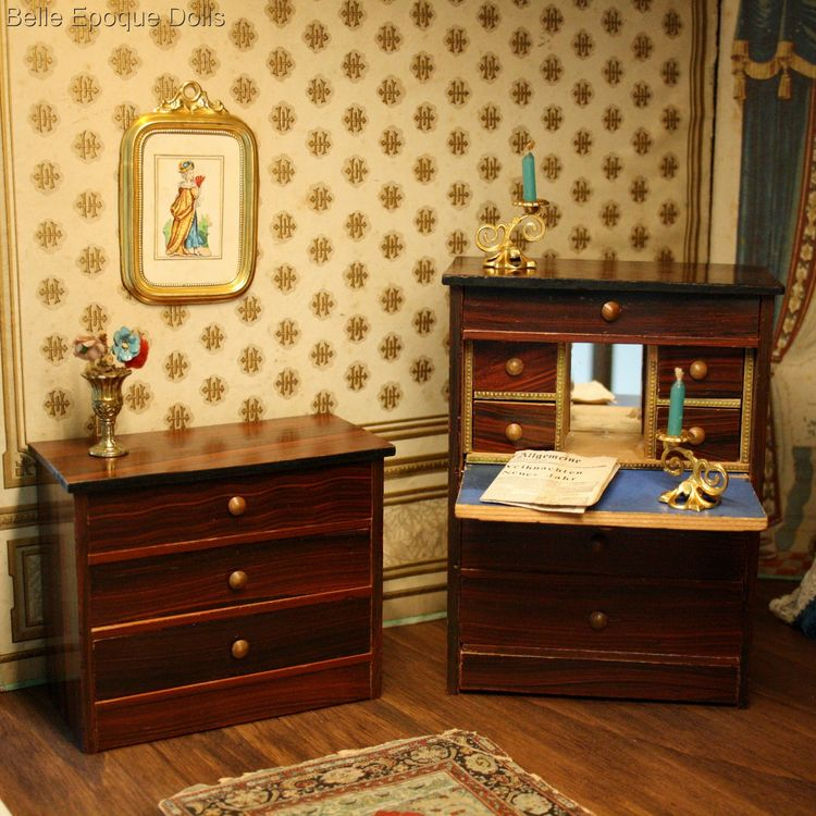 dollhouse furnishings , Puppenstuben zubehor , Antique dolls house rosewood furniture
