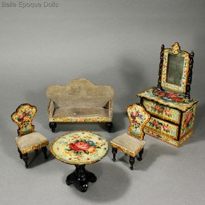Antique Dolls House Furniture / Antique German Wooden Salon With  Lithographed Floral Design   Ref M228A