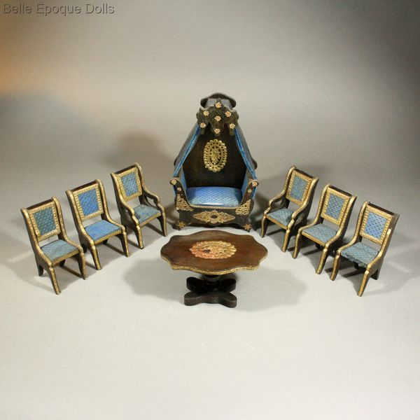 Antique dolls'house salon , French royal blue upholstery , Antique French miniature day-bed