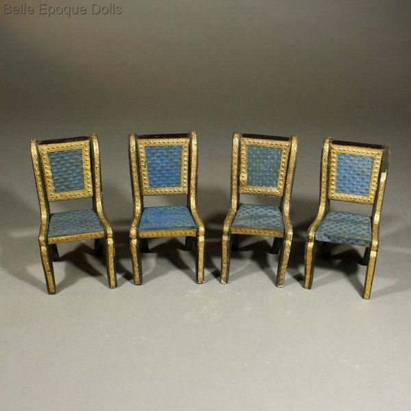 Antique Dollhouse miniature parlor set with sleigh bed , Antique French miniature day-bed , French royal blue upholstery