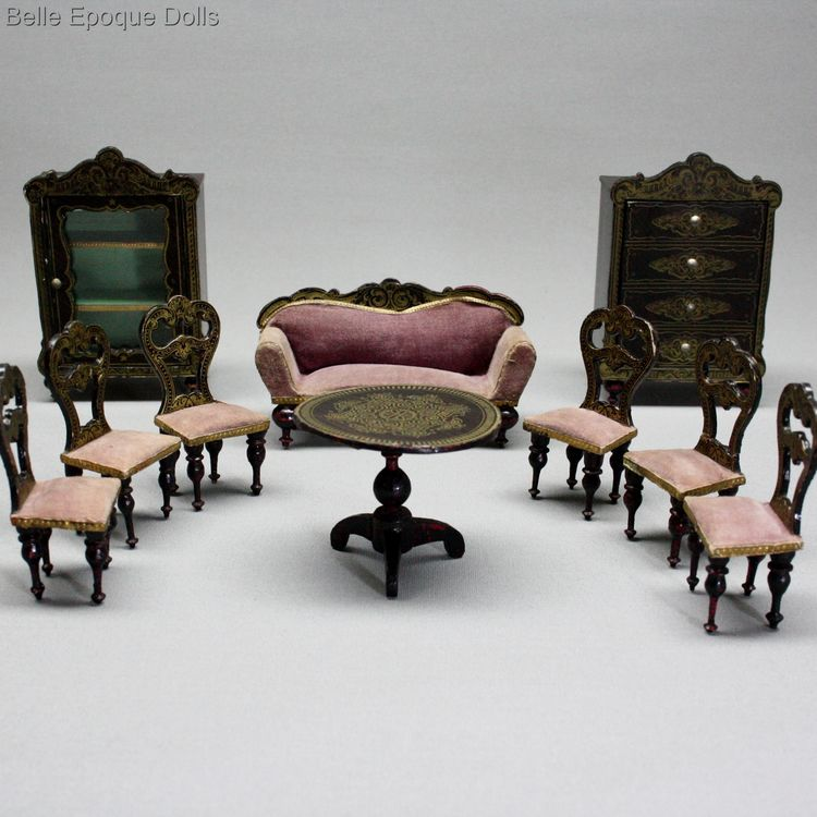 biedermeier salon , Antique dolls house furniture boulle style , Antique Dollhouse german wagner sohn furnishings miniature