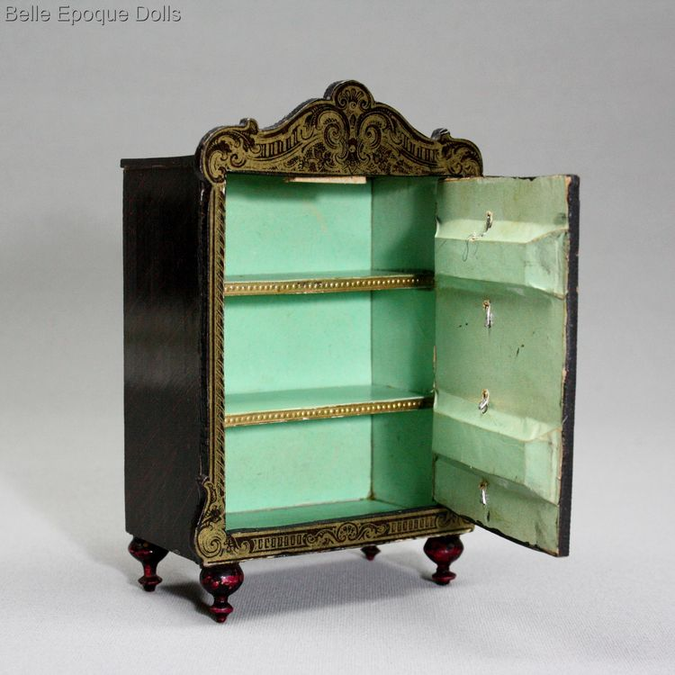 Antique dolls house furniture boulle style , biedermeier salon , Puppenstuben zubehor wagner sohne