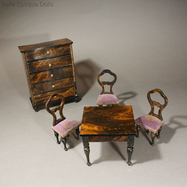 ... House German Furniture Balloon Back Victorian Miniature Chairs ,  Antique Victorian Dollhouse Faux Grained Furniture ...