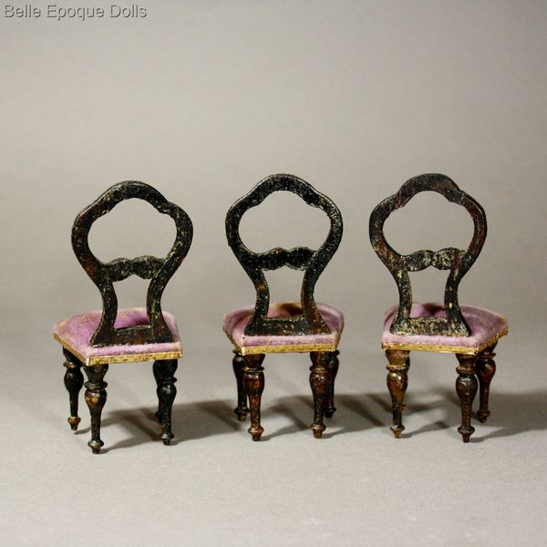 balloon back victorian miniature chairs , antique victorian dollhouse faux grained furniture