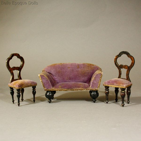 ... Puppenstuben Mobel Salon , Antique Victorian Dollhouse Faux Grained  Furniture ...
