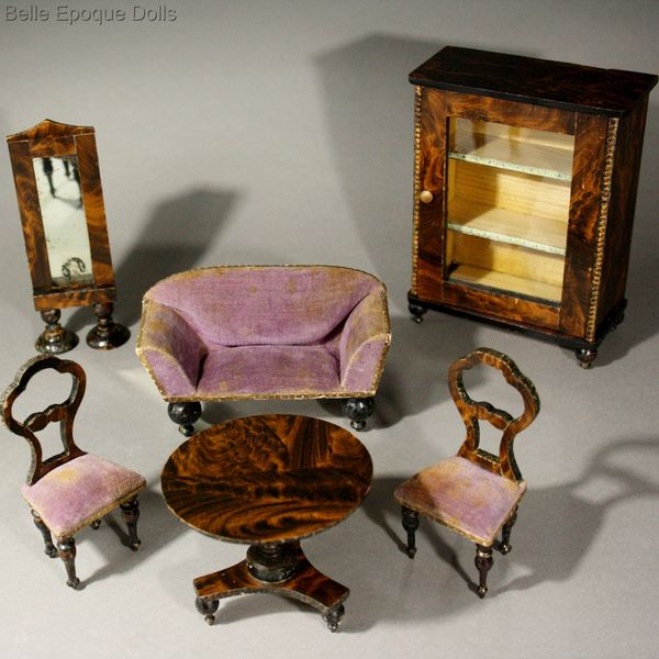 Superb Early German Faux-Grained Salon with Mauve Velvet Upholstery - Antique Dolls House Furniture / Superb Early German Faux-Grained