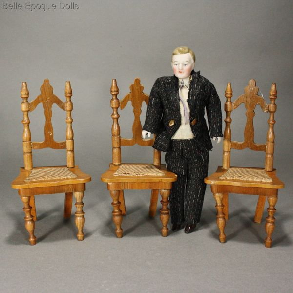 Antique dolls house furniture schneegas chairs , Puppenstuben zubehor