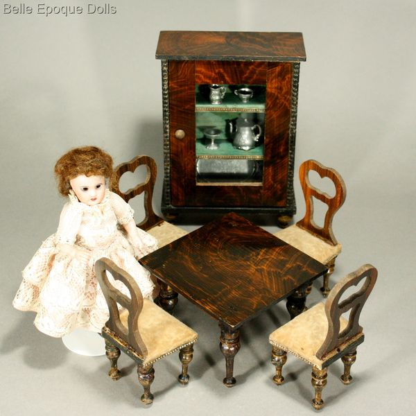 Antique dolls house furniture faux grained , Puppenstuben möbel